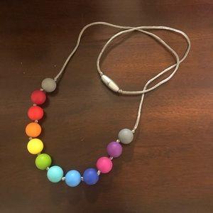 Itzy Ritzy Rainbow Beaded Chew-bead Necklace